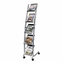 Periodicals display rack / plastic / on casters / for shops
