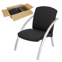 Contemporary visitor armchair / fabric / steel / black