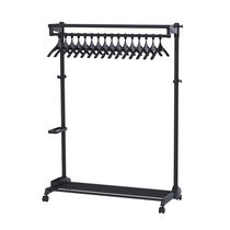 Contemporary clothes rack / steel / ABS plastic / on casters