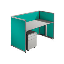 Floor-mounted desk partition / fabric