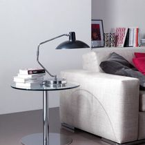 Contemporary side table / HPL / tempered glass / powder-coated steel