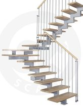Half-turn staircase / wooden steps / metal frame / without risers