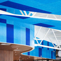 False ceiling acoustic panel / for interior walls / wood wool / colored