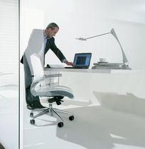 Contemporary office armchair / fabric / leather / aluminum