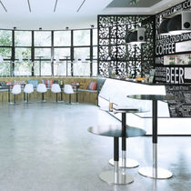 Contemporary bistro table / MDF / HPL / stainless steel