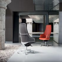 Leather executive armchairs / metal / swivel / star base