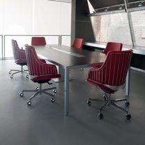 Leather office armchair / metal / swivel / star base