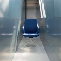 Contemporary visitor chair / leather / metal / with armrests