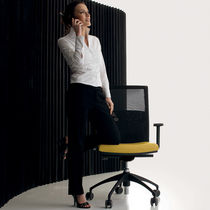 Fabric office armchair / star base / on casters / with armrests