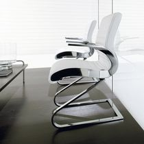 Contemporary visitor chair / fabric / leather / aluminum