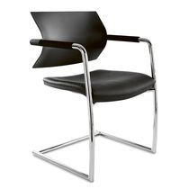 Contemporary visitor chair / mesh / polyurethane / leather