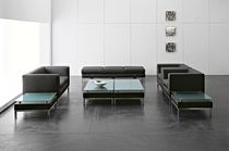 Contemporary sofa / leather / for public buildings / commercial