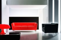 Leather visitor armchair / with armrests / for public buildings / contemporary