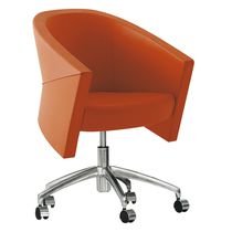 Fabric visitor armchair / leather / swivel / on casters