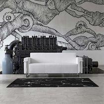 Contemporary sofa / leather / steel / fabric