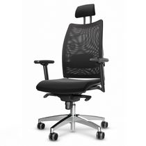 Mesh executive armchairs / leather / swivel / on casters