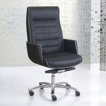 Fabric executive armchairs / aluminium / leather / swivel
