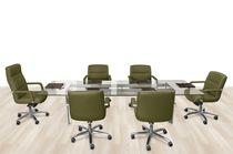 Contemporary office armchair / fabric / aluminium / leather
