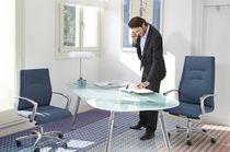 Fabric executive armchairs / leather / aluminum / swivel