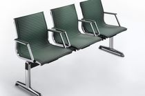 Aluminum beam chairs / fabric / leather / 3-seater