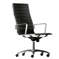 Fabric executive armchairs / leather / swivel / on casters