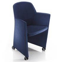 Visitor chair / contemporary / fabric / leather