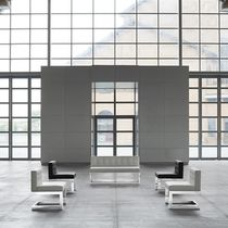 Contemporary upholstered bench / leather / aluminum / for public buildings