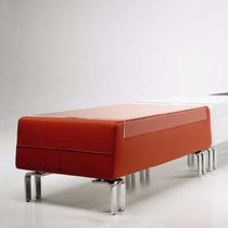 Contemporary upholstered bench / leather / for public buildings / commercial