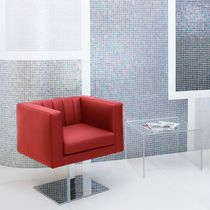 Contemporary visitor armchair / fabric / leather / with armrests