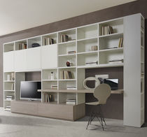 Contemporary TV wall unit / lacquered wood / elm