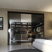 Corner walk-in wardrobe / contemporary / wooden