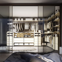 Corner walk-in wardrobe / contemporary / lacquered wood / with sliding door