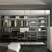Wall-mounted walk-in wardrobe / contemporary / lacquered metal / lacquered wood