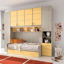 Contemporary wardrobe / lacquered wood / with swing doors / bridge