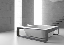 Bathtub with legs / square / Solid Surface