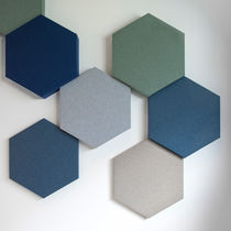 Wall-mounted acoustic panel / fabric / colored / decorative
