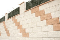 Hollow concrete block / exposed / for retaining walls