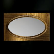 Wall-mounted mirror / contemporary / oval / wood