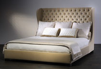 Double bed / contemporary / leather