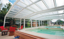 High swimming pool enclosure / telescopic / aluminum / manual