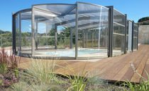 High swimming pool enclosure / telescopic / stainless steel / manual