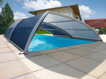Low swimming pool enclosure / telescopic / titanium / manual