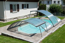Low swimming pool enclosure / telescopic / aluminum / motorized