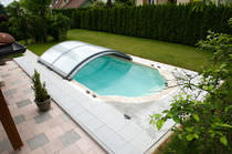 Low swimming pool enclosure / sliding / aluminum / manual