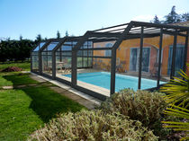 Wall swimming pool enclosure / telescopic / stainless steel / manual