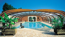 High swimming pool enclosure / telescopic / wooden / manual