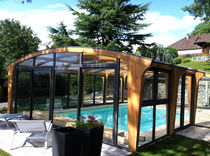 High swimming pool enclosure / wooden / manual