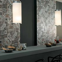 Wall tile / porcelain stoneware / patterned / matte