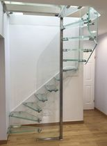 Half-turn staircase / glass steps / stainless steel frame / glass frame