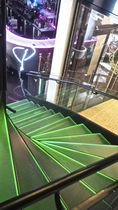 Half-turn staircase / metal steps / glass steps / steel frame